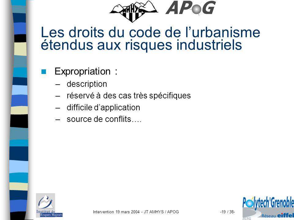 Intervention 19 mars 2004 - JT AMHYS / APOG-19 / 38- Les droits du code de lurbanisme étendus aux risques industriels Expropriation : – description –