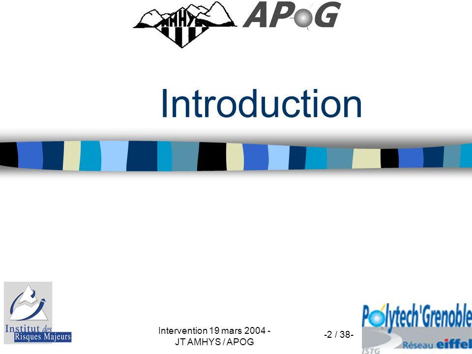 Intervention 19 mars 2004 - JT AMHYS / APOG -2 / 38- Introduction