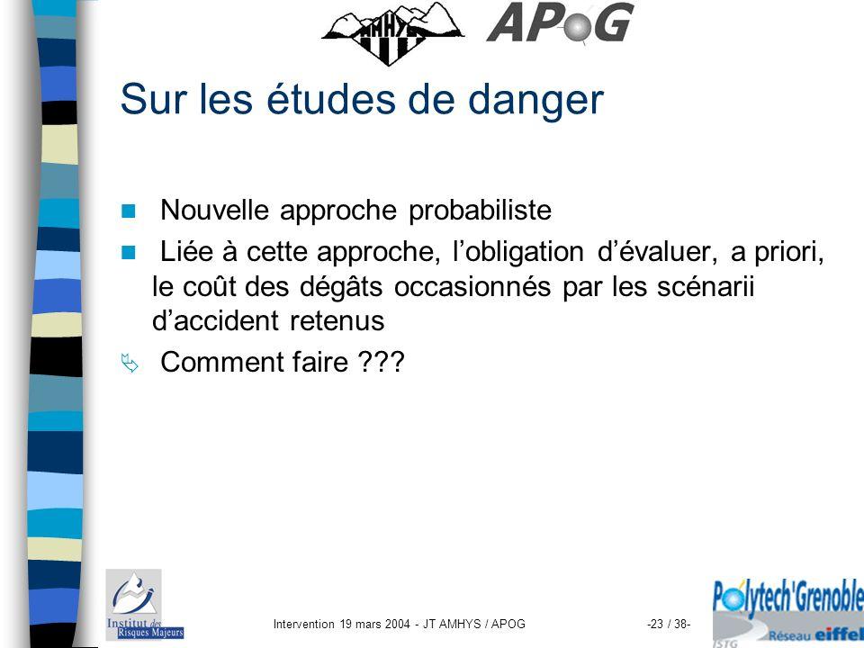Intervention 19 mars 2004 - JT AMHYS / APOG-23 / 38- Sur les études de danger Nouvelle approche probabiliste Liée à cette approche, lobligation dévalu