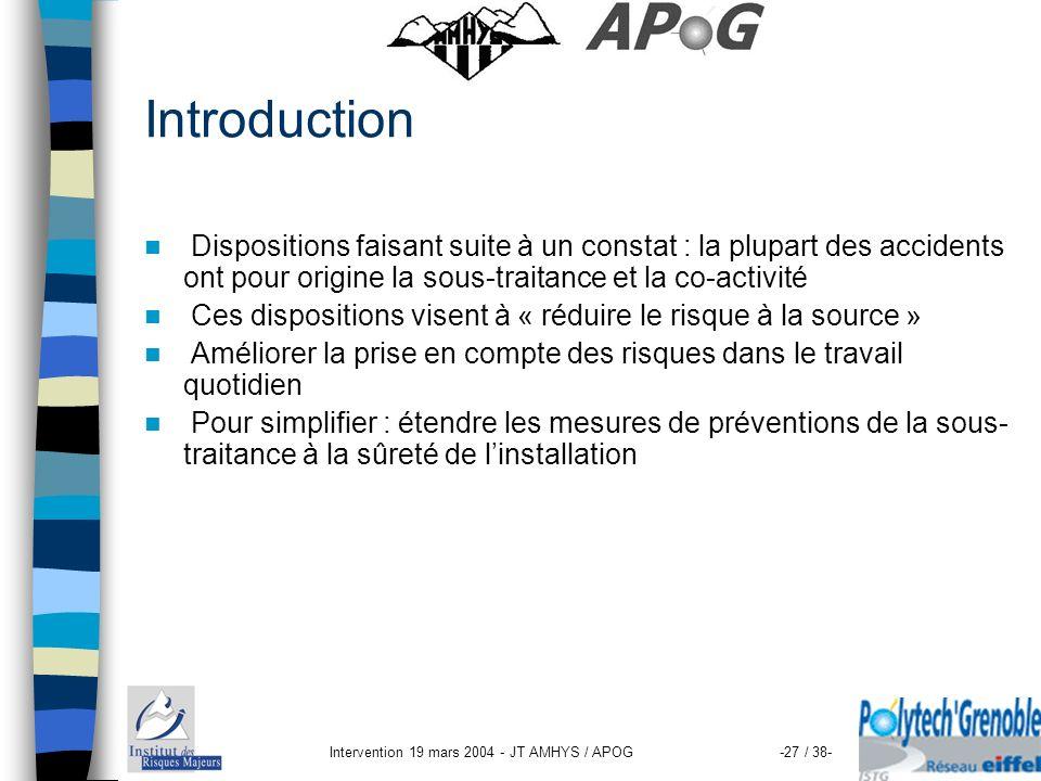 Intervention 19 mars 2004 - JT AMHYS / APOG-27 / 38- Introduction Dispositions faisant suite à un constat : la plupart des accidents ont pour origine