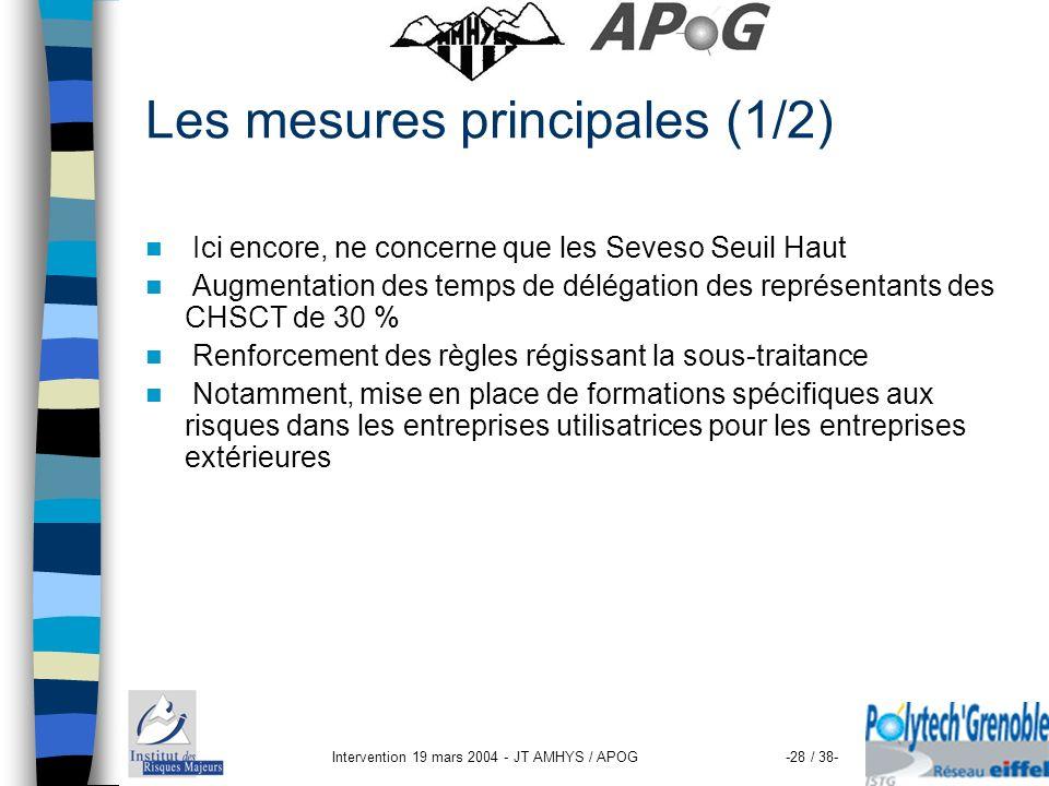 Intervention 19 mars 2004 - JT AMHYS / APOG-28 / 38- Les mesures principales (1/2) Ici encore, ne concerne que les Seveso Seuil Haut Augmentation des