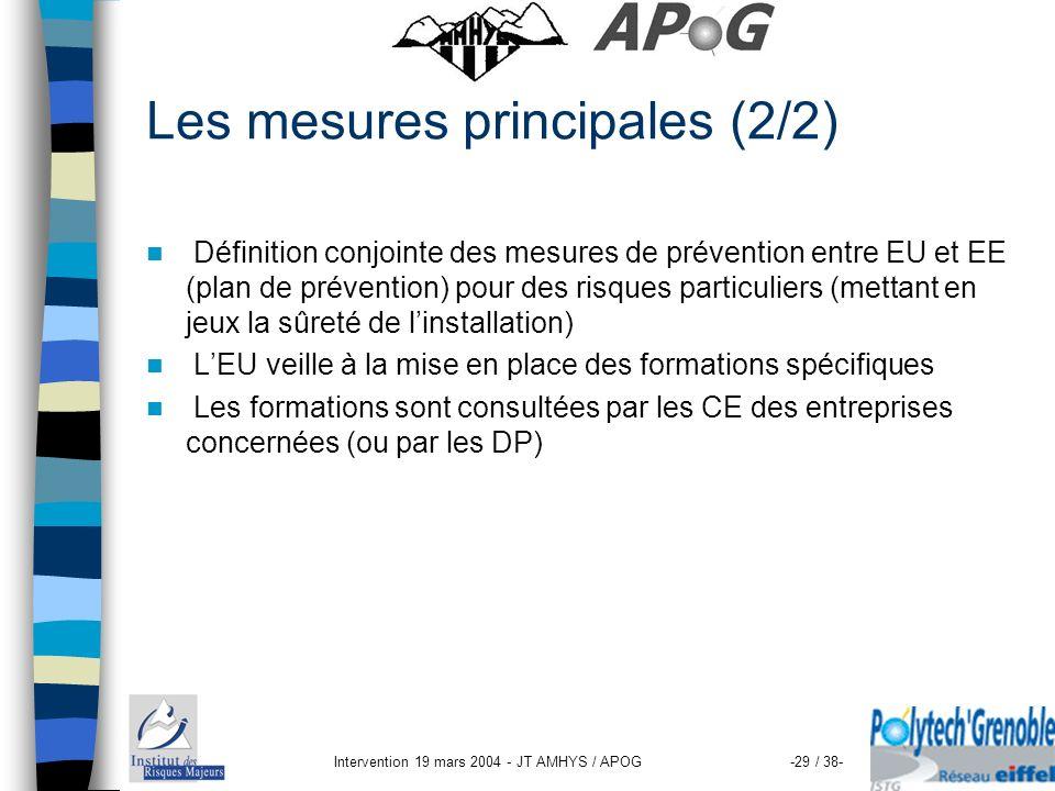 Intervention 19 mars 2004 - JT AMHYS / APOG-29 / 38- Les mesures principales (2/2) Définition conjointe des mesures de prévention entre EU et EE (plan