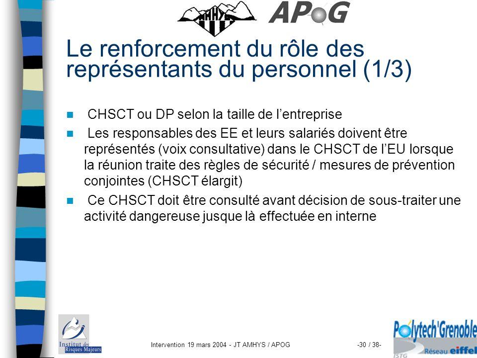 Intervention 19 mars 2004 - JT AMHYS / APOG-30 / 38- Le renforcement du rôle des représentants du personnel (1/3) CHSCT ou DP selon la taille de lentr