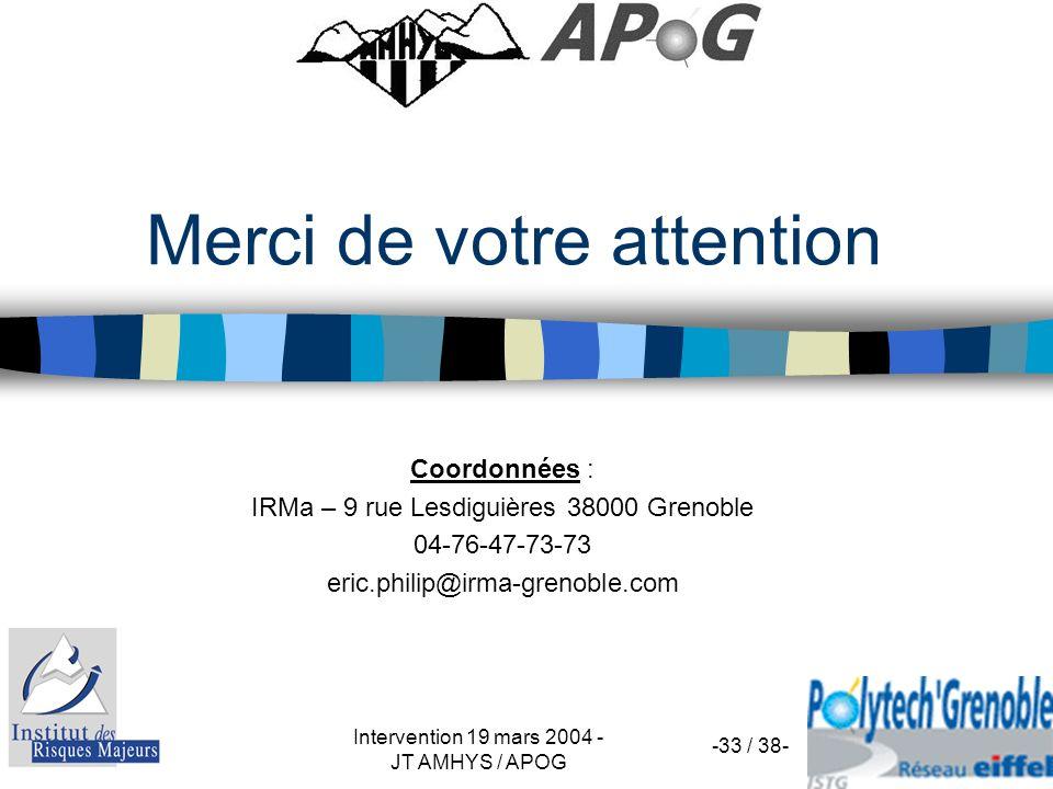 Intervention 19 mars 2004 - JT AMHYS / APOG -33 / 38- Merci de votre attention Coordonnées : IRMa – 9 rue Lesdiguières 38000 Grenoble 04-76-47-73-73 e