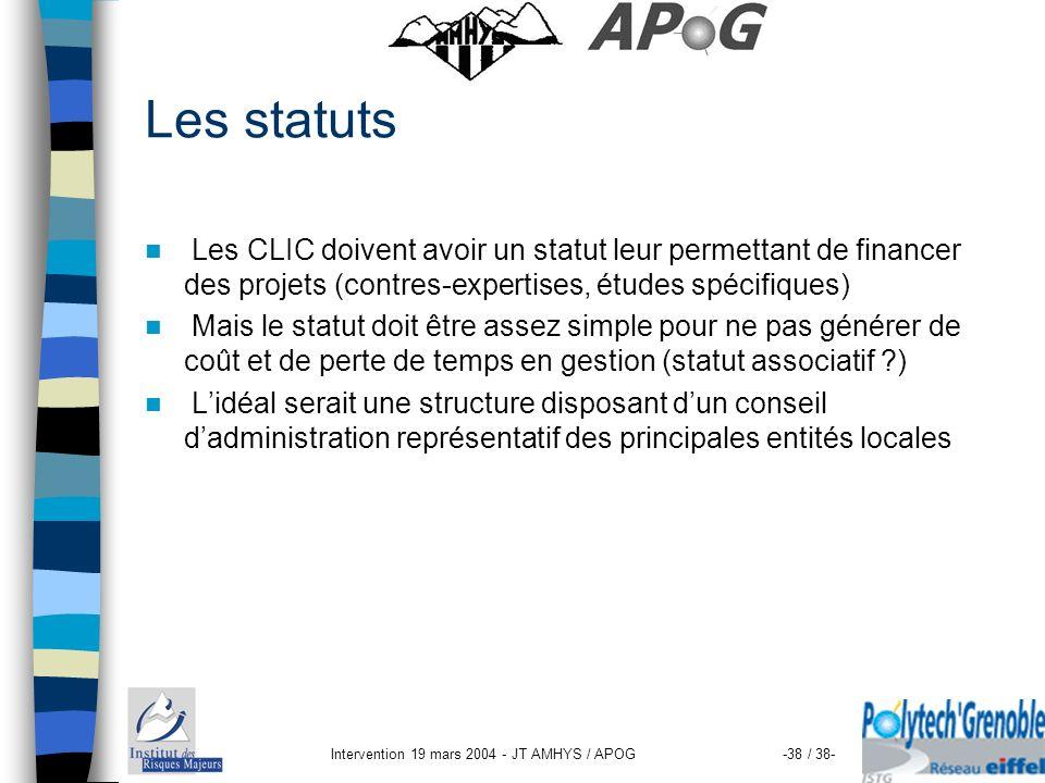 Intervention 19 mars 2004 - JT AMHYS / APOG-38 / 38- Les statuts Les CLIC doivent avoir un statut leur permettant de financer des projets (contres-exp