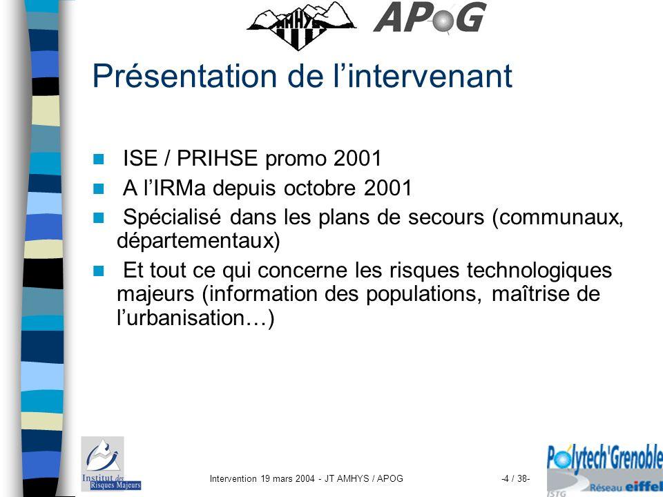 Intervention 19 mars 2004 - JT AMHYS / APOG-35 / 38- Détail sur les CLIC Doit être une instance indépendante Pluridisciplinaire Devant ouvrir le débat social Permettant : – de répercuter une information vers la population – le suivi environnemental et technique