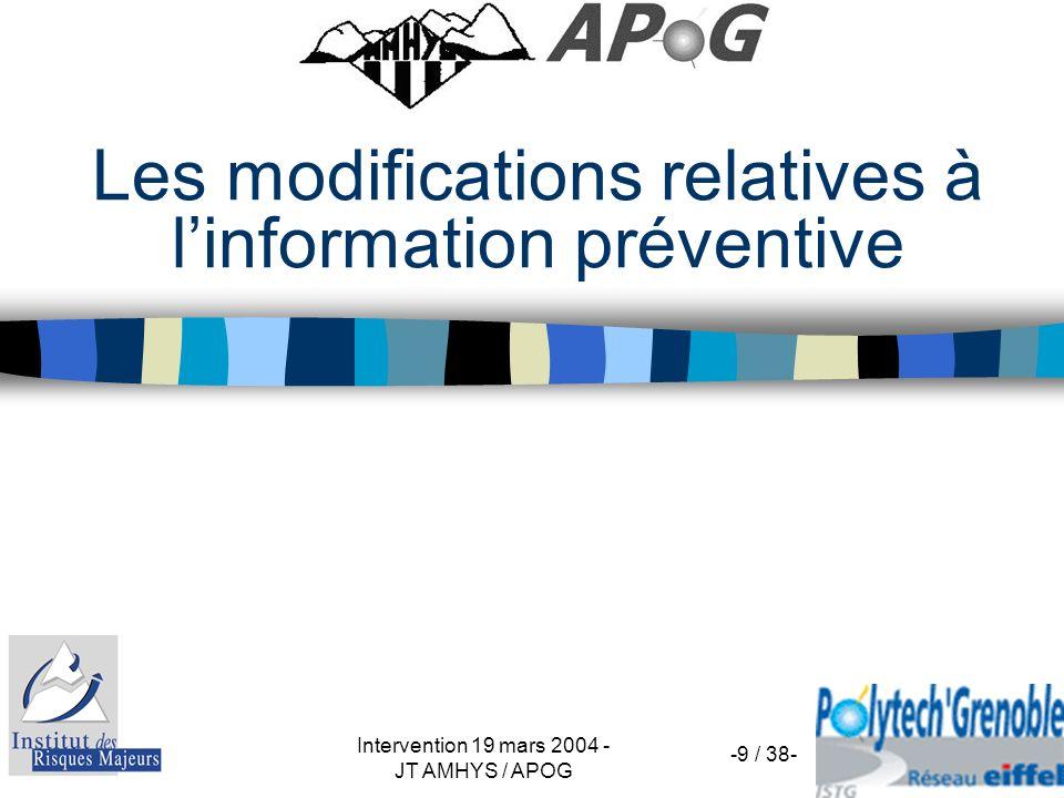 Intervention 19 mars 2004 - JT AMHYS / APOG-10 / 38- Renforcement de linformation sur les risques industriels Pour les sites Seveso seuil haut uniquement Art.