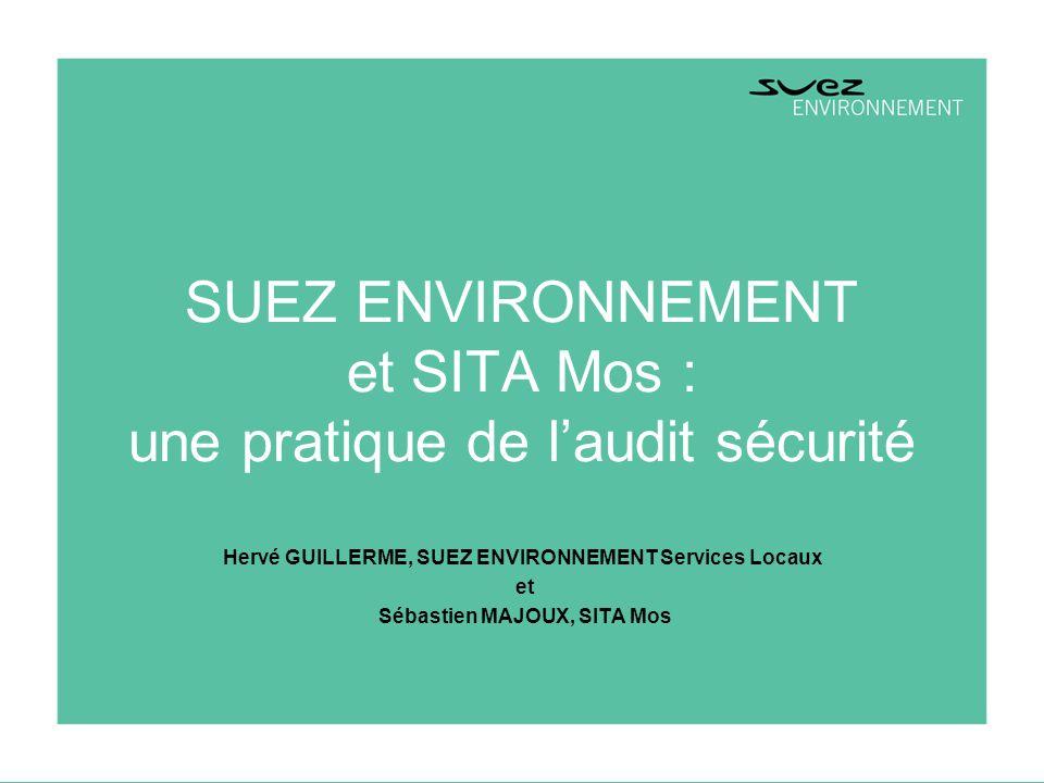 1 AMHYS Grenoble – 21/03/03 SUEZ ENVIRONNEMENT et SITA Mos : une pratique de laudit sécurité Hervé GUILLERME, SUEZ ENVIRONNEMENT Services Locaux et Sé