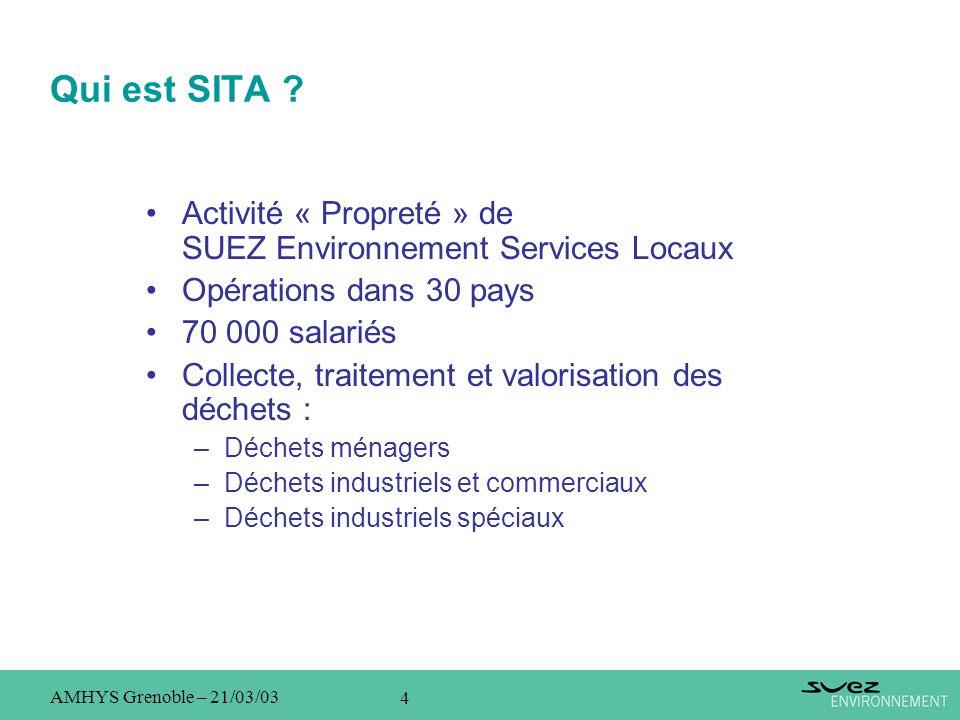 4 AMHYS Grenoble – 21/03/03 Qui est SITA ? Activité « Propreté » de SUEZ Environnement Services Locaux Opérations dans 30 pays 70 000 salariés Collect