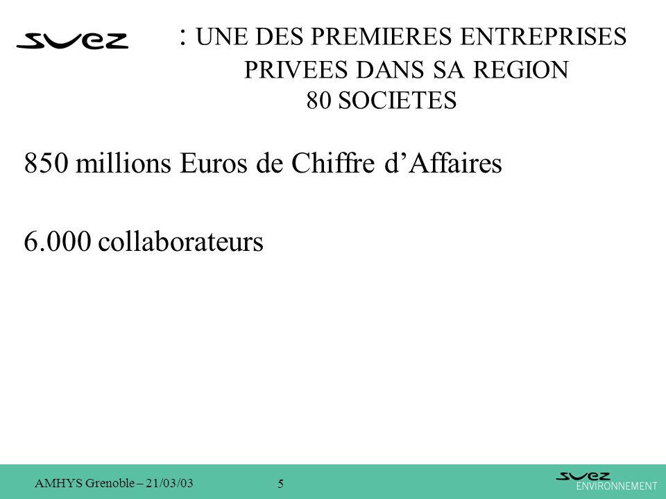 5 AMHYS Grenoble – 21/03/03 : UNE DES PREMIERES ENTREPRISES PRIVEES DANS SA REGION 80 SOCIETES 850 millions Euros de Chiffre dAffaires 6.000 collabora
