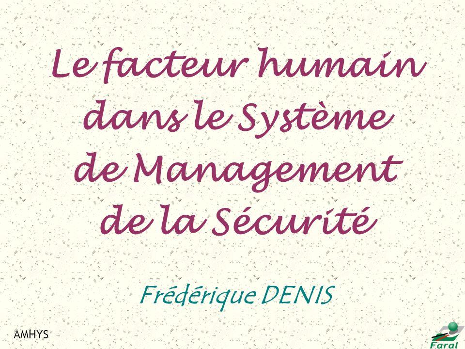 AMHYS Frédérique DENIS Le facteur humain dans le Système de Management de la Sécurité