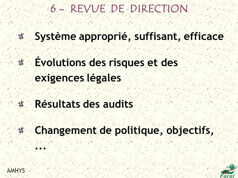 AMHYS Système approprié, suffisant, efficace Évolutions des risques et des exigences légales Résultats des audits Changement de politique, objectifs,.