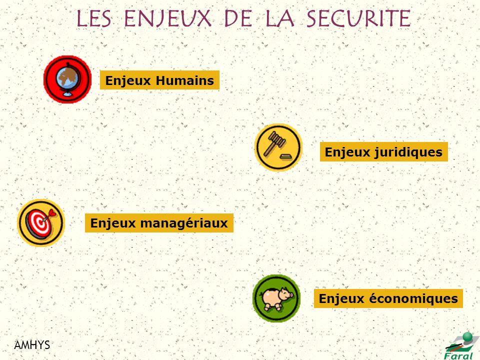 AMHYS LES ENJEUX DE LA SECURITE Enjeux juridiques Enjeux économiques Enjeux managériaux Enjeux Humains