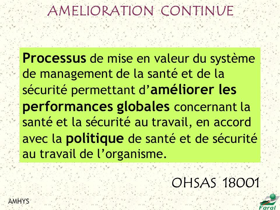 AMHYS Processus de mise en valeur du système de management de la santé et de la sécurité permettant d améliorer les performances globales concernant l