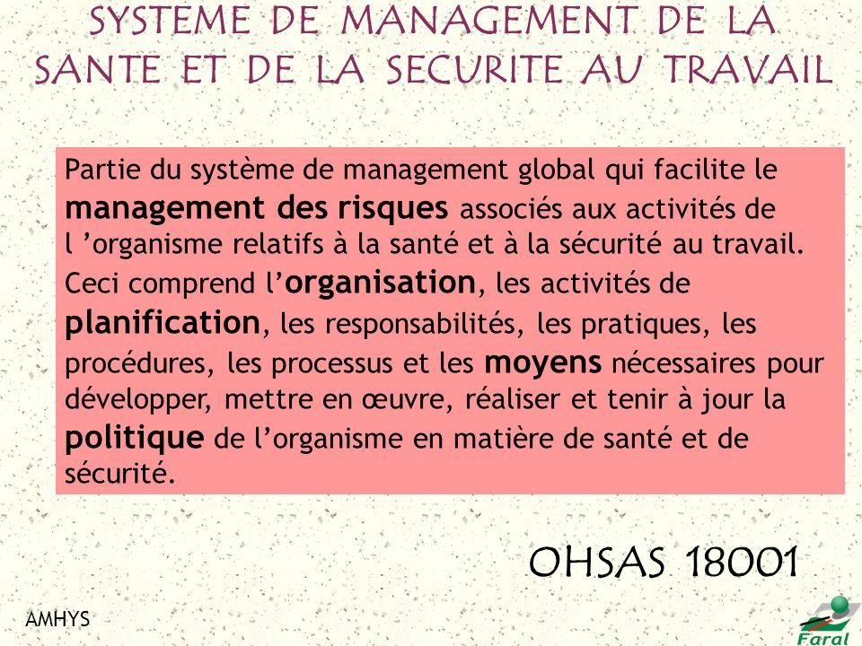 AMHYS Partie du système de management global qui facilite le management des risques associés aux activités de l organisme relatifs à la santé et à la