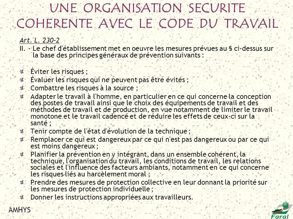 AMHYS Art. L. 230-2 II. - Le chef d'établissement met en oeuvre les mesures prévues au § ci-dessus sur la base des principes généraux de prévention su