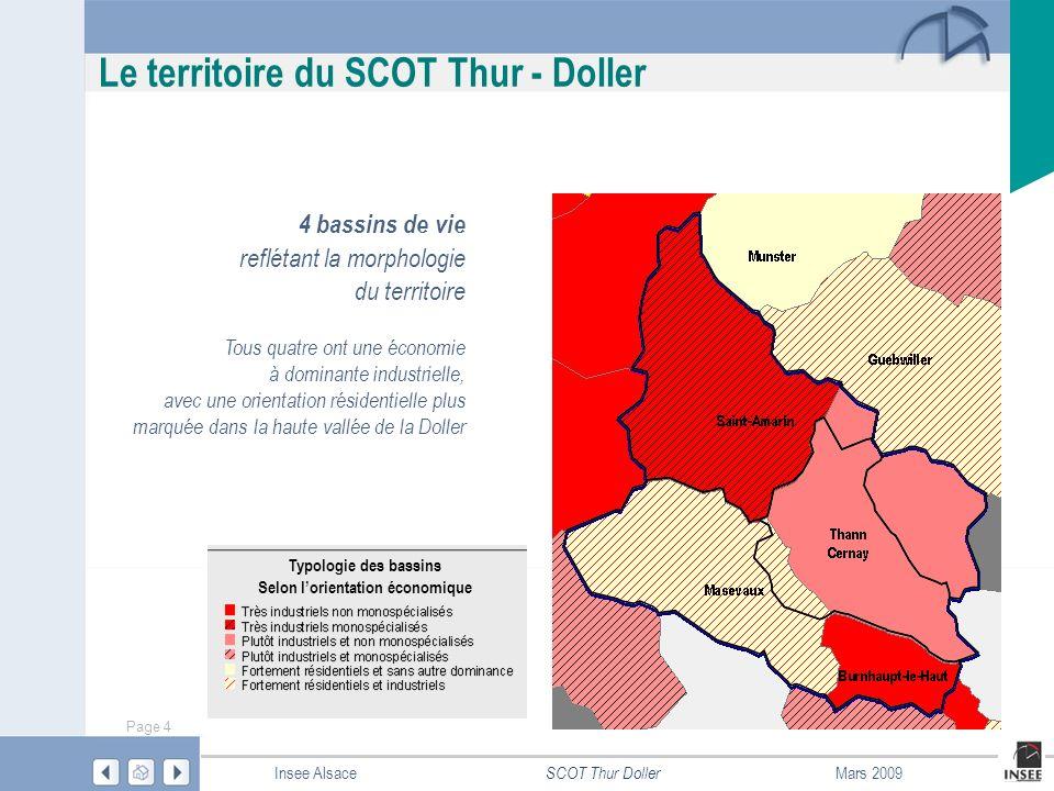 Page 5 SCOT Thur Doller Insee AlsaceMars 2009 Le territoire du SCOT Thur - Doller Couronne périurbaine : communes dont au moins 40 % des actifs ayant un emploi travaillent dans le pôle urbain ou dans les communes attirées par celui-ci.