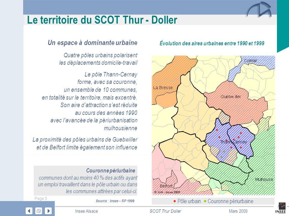 Page 6 SCOT Thur Doller Insee AlsaceMars 2009 Le territoire du SCOT Thur Doller 65 400 habitants au 1 er janvier 2006 Localisée le long des infrastructures de communication, la population se concentre, pour plus des deux tiers, dans la partie-est A lui seul, le pôle urbain Thann-Cernay regroupe 30 200 habitants, dont 15 300 dans la partie Cernéenne, qui coïncide avec le territoire de la CC de Cernay et environs Localisation de la population en 2006 © IGN-Insee 2008 – Source : RP 2006 Thann 7 980 Cernay 10 750 Masevaux 3 230 Saint-Amarin 2 490 Guebwiller
