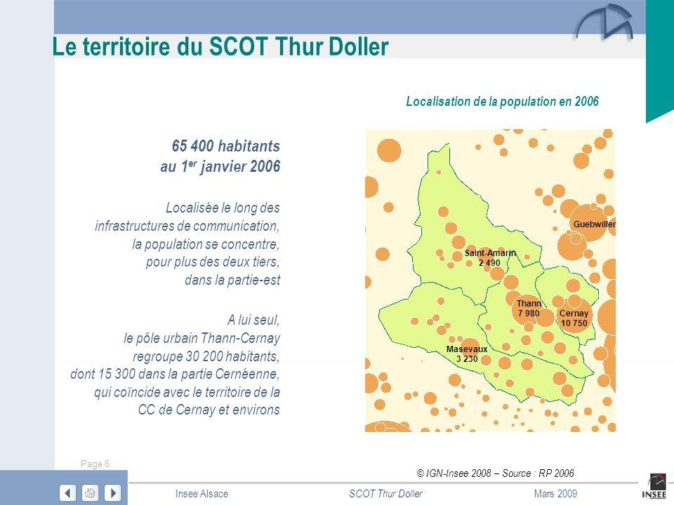 Page 7 SCOT Thur Doller Insee AlsaceMars 2009 Le territoire du SCOT Thur Doller 49 communes - Thann, chef lieu darrondissement de 8 000 habitants et Cernay, 10 750 habitants, villes centres dun pôle urbain de 8 communes regroupant 30 200 habitants à lui seul, le pôle urbain concentre 46 % de la population du territoire du SCOT et 62 % des emplois - Masevaux, 3 200 habitants Chef lieu de canton et bourg-centre du bassin de vie de la haute vallée de la Doller - Saint-Amarin, 2 500 habitants Chef lieu de canton et bourg-centre du bassin de vie de la haute vallée de la Thur Saint-Amarin fait partie dune unité urbaine de 9 communes étalées le long de la RN66 et formant un espace bâti continu, de Moosch à Oderen ; lensemble regroupe 10 500 habitants - Burnhaupt-le-Haut, 1 600 habitants forme une unité urbaine de 3 000 habitants avec Burnhaupt-le-Bas et constitue un pôle de services pour les communes situées au débouché de la Doller sur la plaine - 16 communes de moins de 500 habitants dont 12 situées dans la partie haute des vallées (partie « Montagne » du territoire)