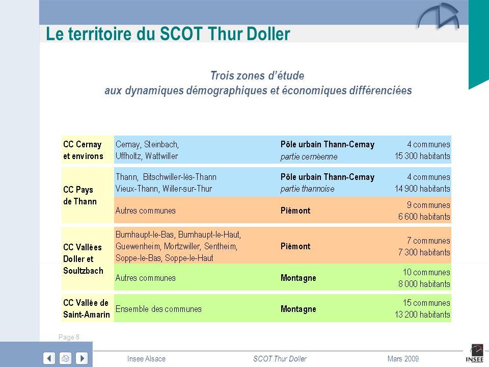 Page 49 SCOT Thur Doller Insee AlsaceMars 2009 Population - Âge Source : Insee – RR 1999 Part des 60 ans et plusPart des moins de 20 ans en 1999 Une population de moins de 20 ans relativement nombreuse dans le sud-est, où joue une dynamique de péri-urbanisation Une population plus âgée dans la partie ouest du territoire