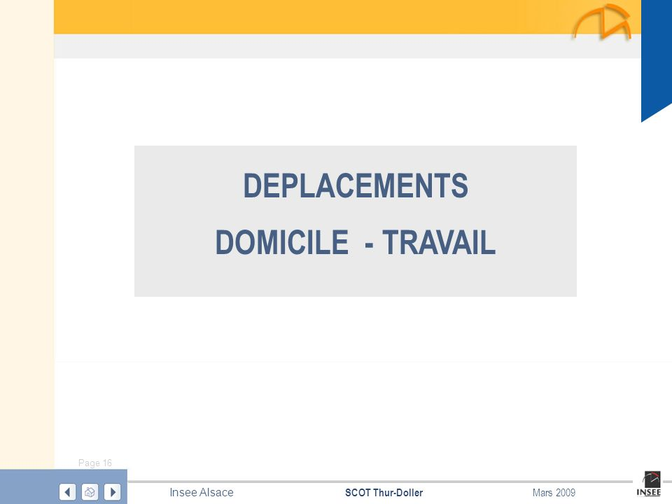 Page 16 SCOT Thur-Doller Insee Alsace Mars 2009 DEPLACEMENTS DOMICILE - TRAVAIL