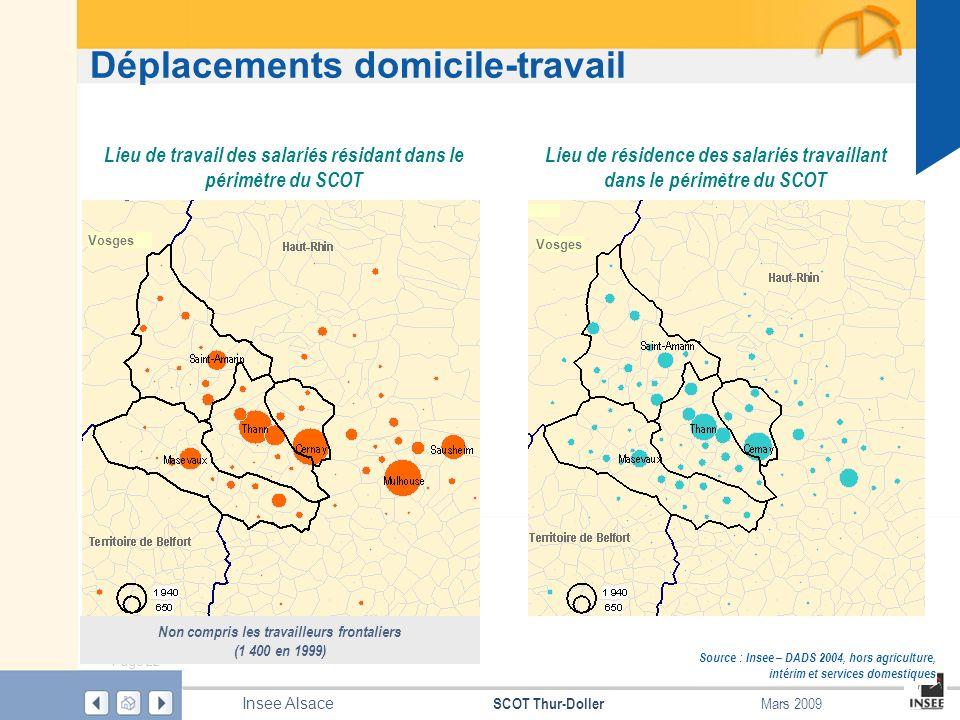 Page 22 SCOT Thur-Doller Insee Alsace Mars 2009 Déplacements domicile-travail Source : Insee – DADS 2004, hors agriculture, intérim et services domest