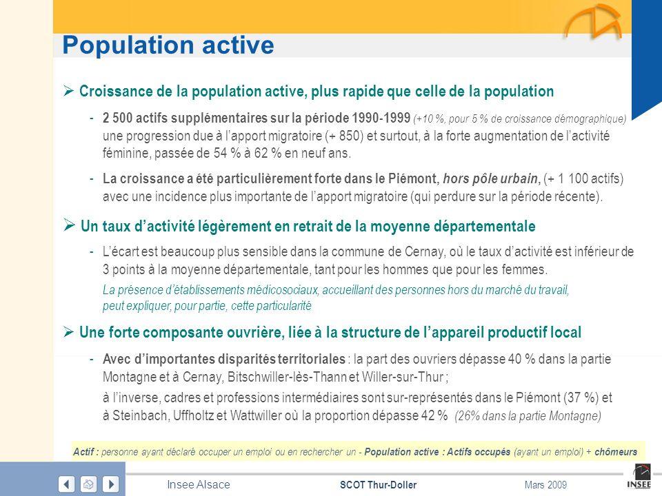 Page 4 SCOT Thur-Doller Insee Alsace Mars 2009 Population active Source : Insee – RP 1999 au lieu de résidence Population active et taux dactivité des 15-64 ans Forte croissance de la population active dans les années 1990, due, à la fois, à laugmentation de lactivité féminine et à linstallation de jeunes couples dactifs dans la partie Piémont