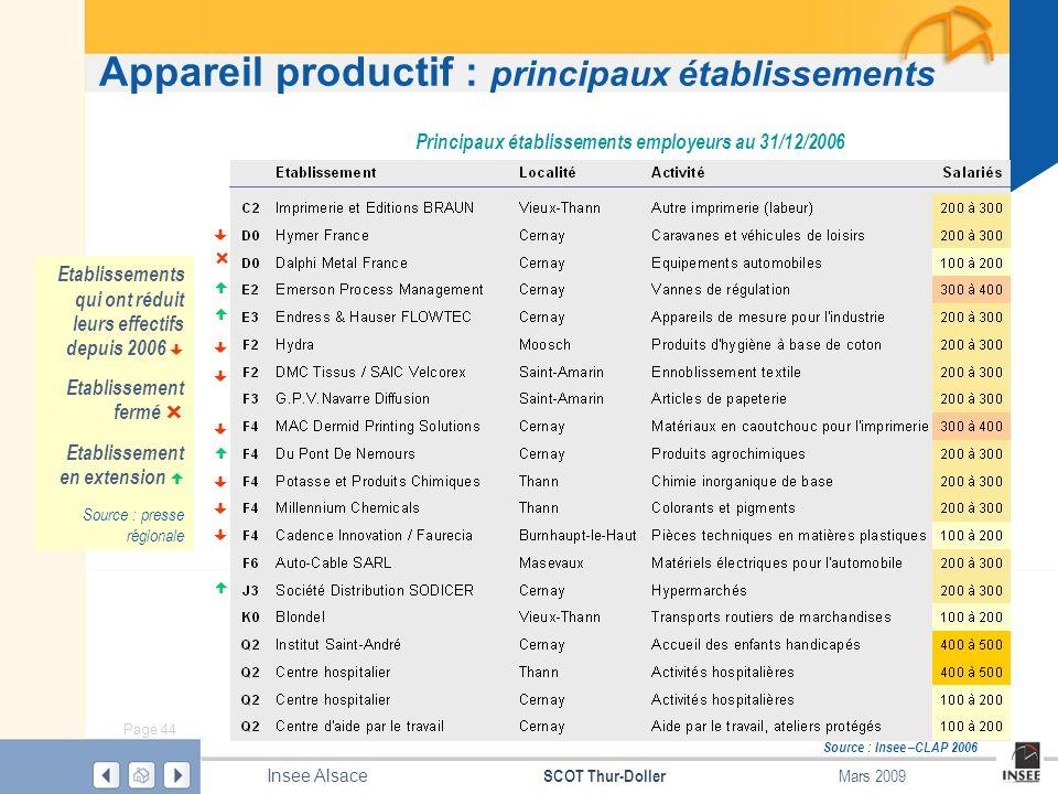 Page 44 SCOT Thur-Doller Insee Alsace Mars 2009 Appareil productif : principaux établissements Source : Insee –CLAP 2006 Principaux établissements emp