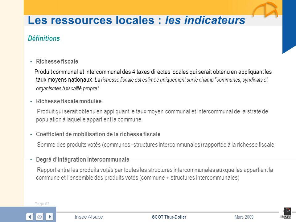 Page 62 SCOT Thur-Doller Insee Alsace Mars 2009 Les ressources locales : les indicateurs - Richesse fiscale Produit communal et intercommunal des 4 ta