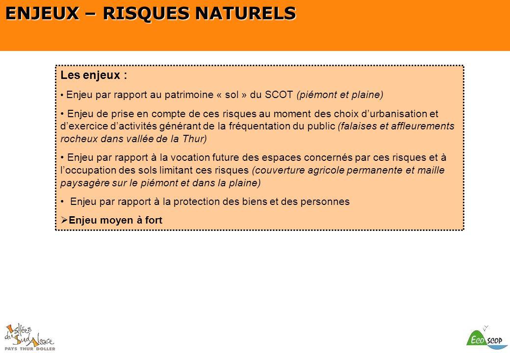 SCOT du Pays Thur Doller ENJEUX – RISQUES NATURELS Les enjeux : Enjeu par rapport au patrimoine « sol » du SCOT (piémont et plaine) Enjeu de prise en