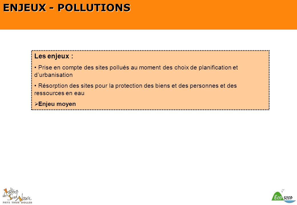 SCOT du Pays Thur Doller ENJEUX - POLLUTIONS Les enjeux : Prise en compte des sites pollués au moment des choix de planification et durbanisation Réso