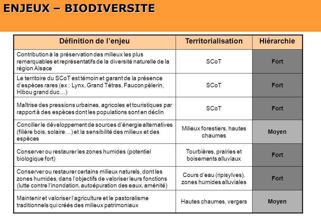 SCOT du Pays Thur Doller ENJEUX – BIODIVERSITE Définition de lenjeuTerritorialisationHiérarchie Contribution à la préservation des milieux les plus re