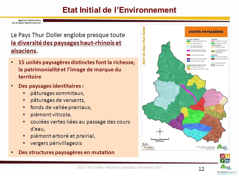 12 Etat Initial de lEnvironnement Le Pays Thur Doller englobe presque toute la diversité des paysages haut-rhinois et alsaciens. 15 unités paysagères