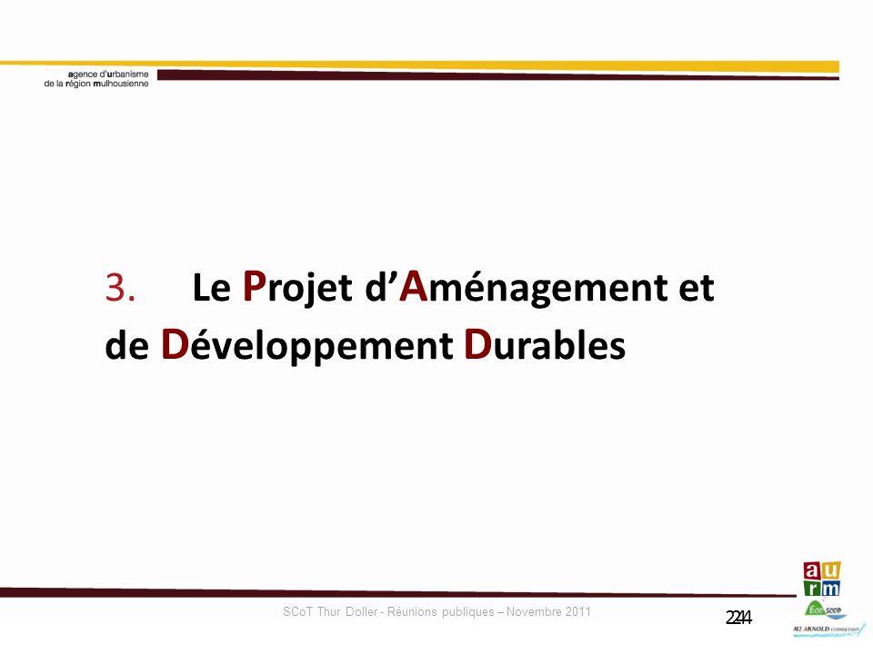 24 3. Le P rojet d A ménagement et de D éveloppement D urables SCoT Thur Doller - Réunions publiques – Novembre 2011