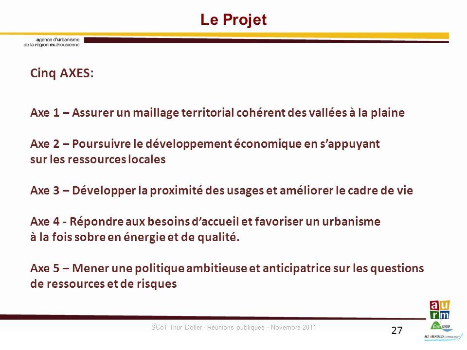 27 Cinq AXES: Axe 1 – Assurer un maillage territorial cohérent des vallées à la plaine Axe 2 – Poursuivre le développement économique en sappuyant sur