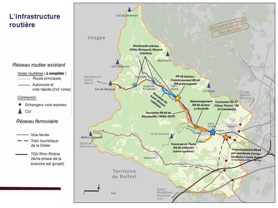 Linfrastructure routière En bleu, les aménagements réalisés entre 2000 et 2010 En orange, les projets et réflexions