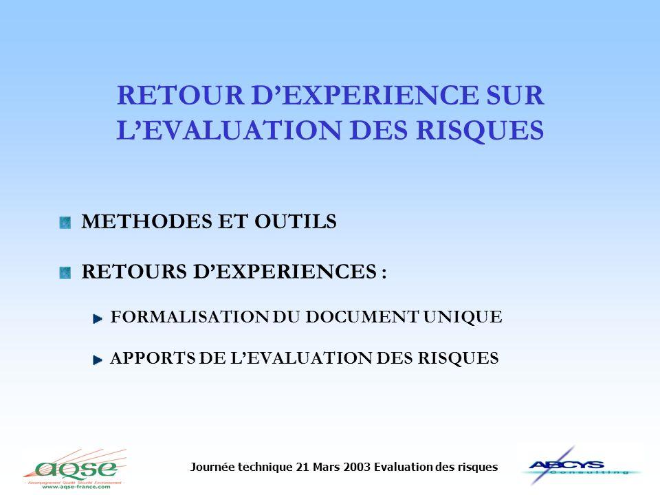Journée technique 21 Mars 2003 Evaluation des risques RETOUR DEXPERIENCE SUR LEVALUATION DES RISQUES METHODES ET OUTILS RETOURS DEXPERIENCES : FORMALI