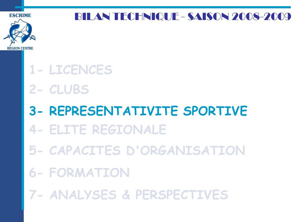 3- REPRESENTATIVITE SPORTIVE 2- CLUBS BILAN TECHNIQUE - SAISON 2008-2009 1- LICENCES 7- ANALYSES & PERSPECTIVES 3- REPRESENTATIVITE SPORTIVE 4- ELITE