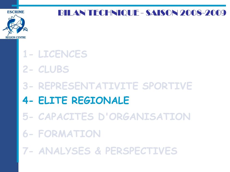 4- ELITE REGIONALE 2- CLUBS BILAN TECHNIQUE - SAISON LICENCES 7- ANALYSES & PERSPECTIVES 3- REPRESENTATIVITE SPORTIVE 4- ELITE REGIONALE 5- CAPACITES D ORGANISATION 6- FORMATION