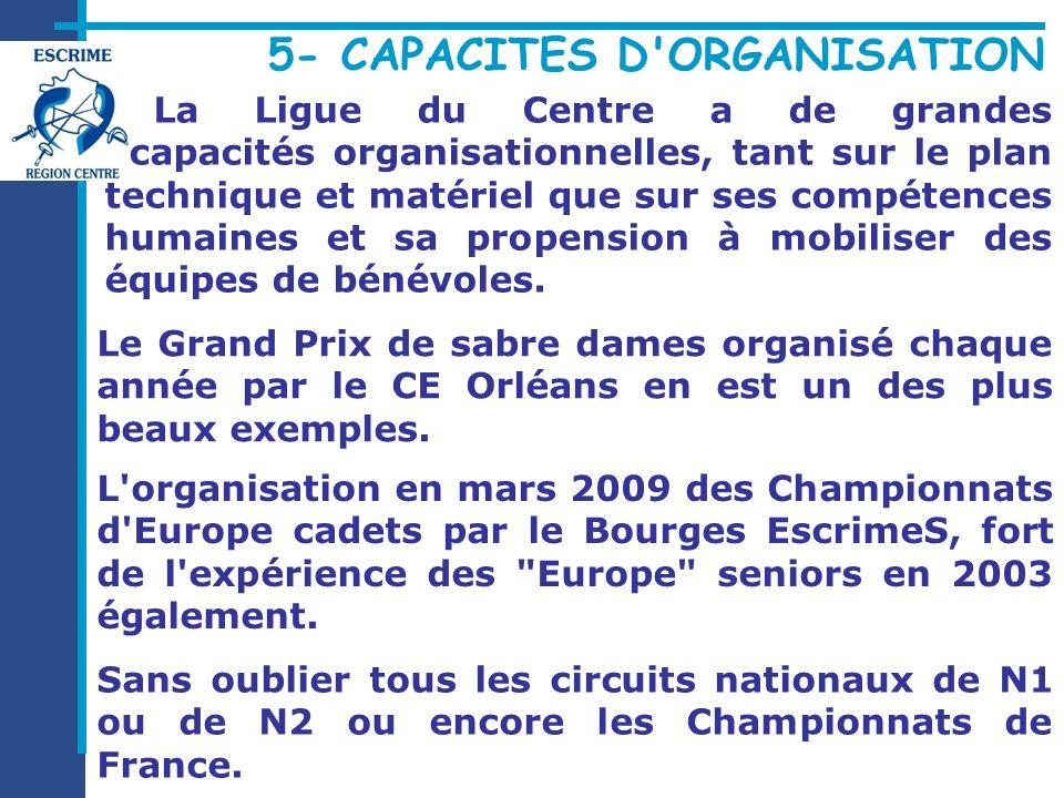 La Ligue du Centre a de grandes capacités organisationnelles, tant sur le plan technique et matériel que sur ses compétences humaines et sa propension à mobiliser des équipes de bénévoles.