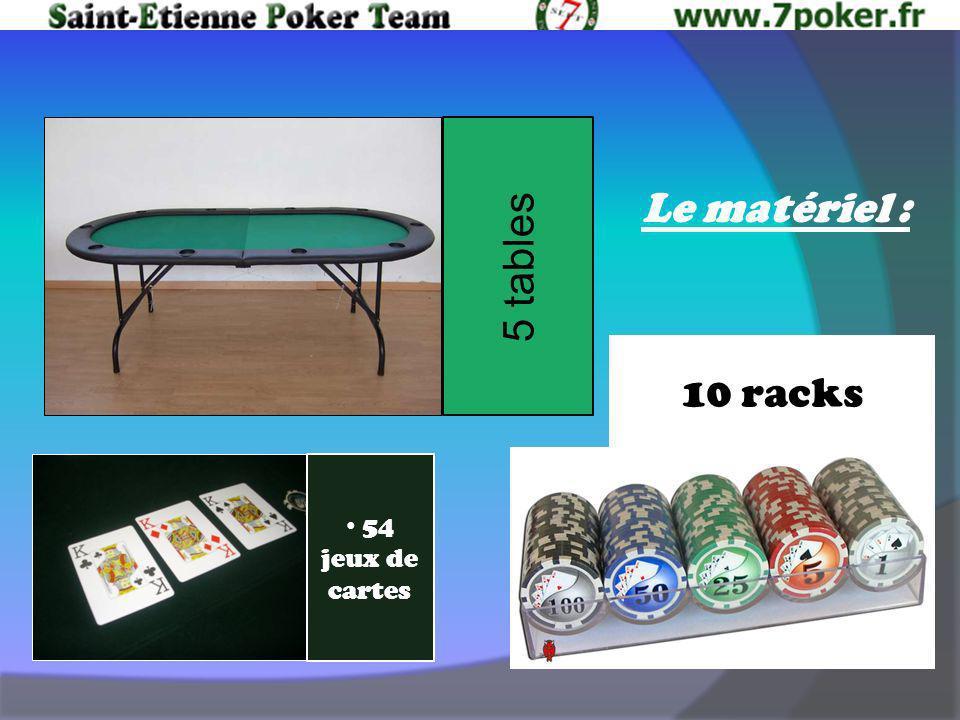 Le matériel : 54 jeux de cartes 10 racks 5 tables