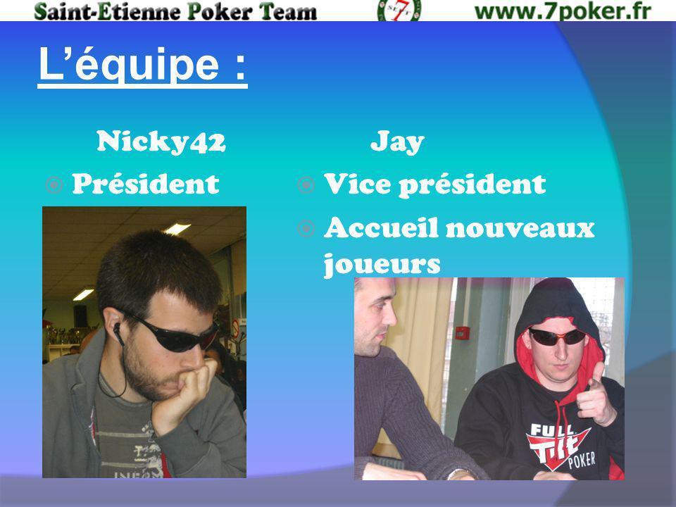 Léquipe : Nicky42 Président Jay Vice président Accueil nouveaux joueurs