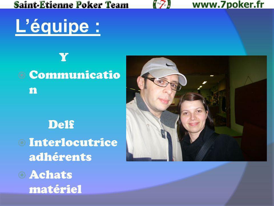 Léquipe : Y Communicatio n Delf Interlocutrice adhérents Achats matériel