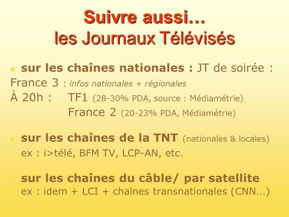 Suivre aussi… les Journaux Télévisés sur les chaînes nationales : JT de soirée : France 3 : infos nationales + régionales À 20h : TF1 (28-30% PDA, sou