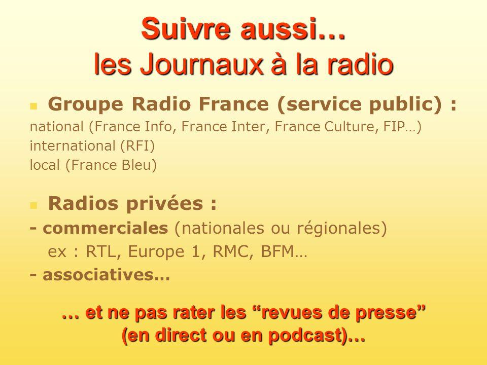 Suivre aussi… les Journaux à la radio Groupe Radio France (service public) : national (France Info, France Inter, France Culture, FIP…) international