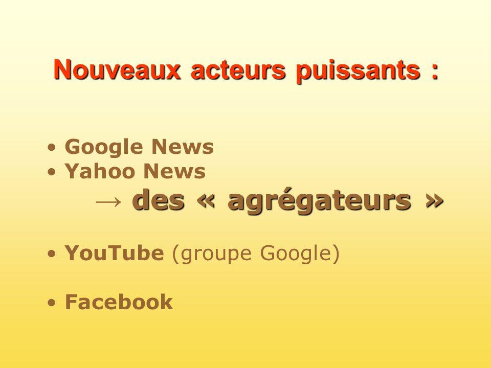 Nouveaux acteurs puissants : Google News Yahoo News des « agrégateurs » YouTube (groupe Google) Facebook