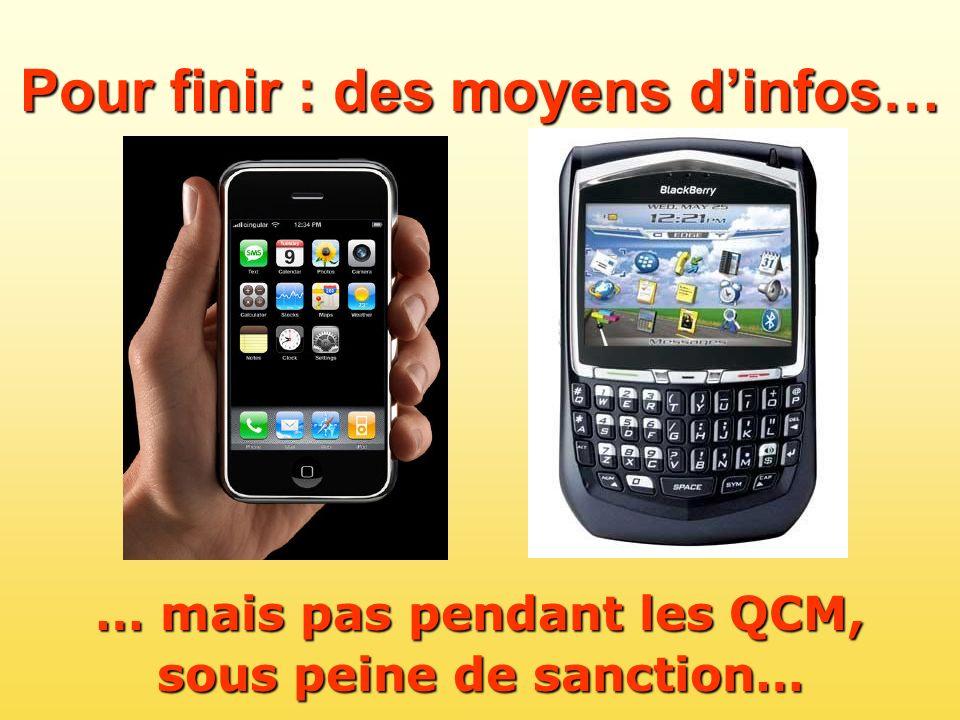 … mais pas pendant les QCM, sous peine de sanction…