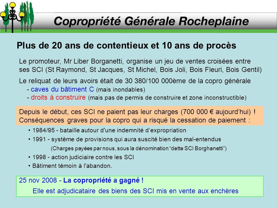 Plus de 20 ans de contentieux et 10 ans de procès Le promoteur, Mr Liber Borganetti, organise un jeu de ventes croisées entre ses SCI (St Raymond, St
