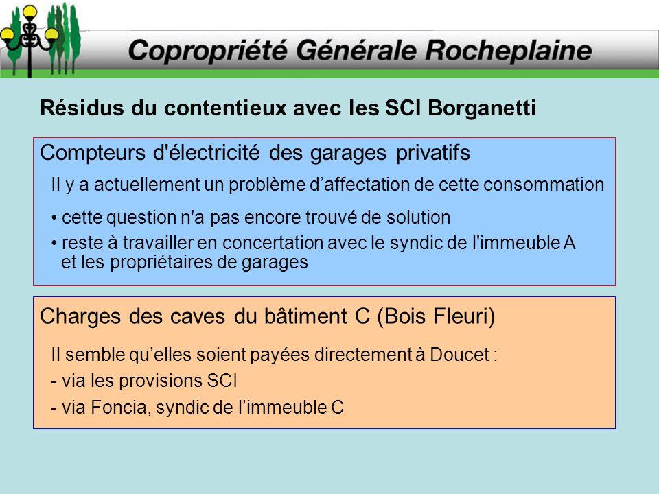 Résidus du contentieux avec les SCI Borganetti Compteurs d'électricité des garages privatifs Il y a actuellement un problème daffectation de cette con