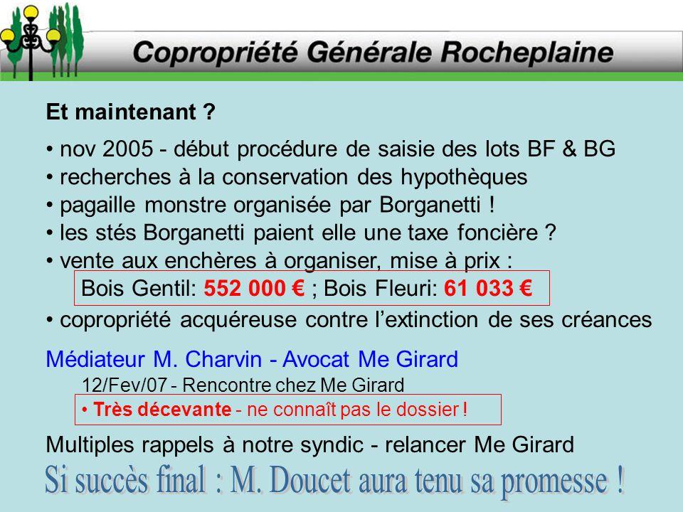 Et maintenant ? nov 2005 - début procédure de saisie des lots BF & BG recherches à la conservation des hypothèques pagaille monstre organisée par Borg